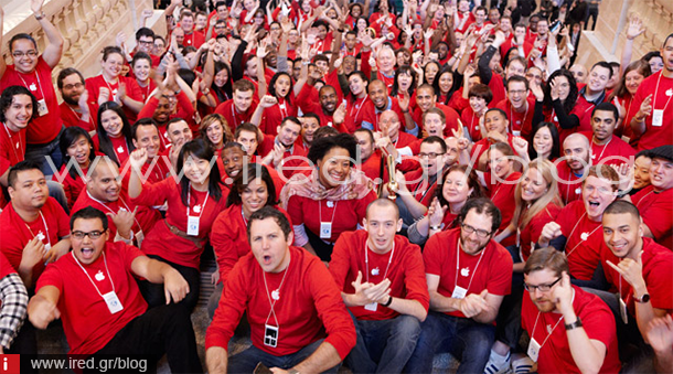 apple Staff in red