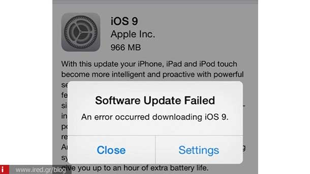 ired ios 9 update error 00