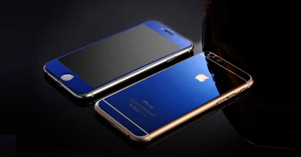 colored tempered glass iphone blue