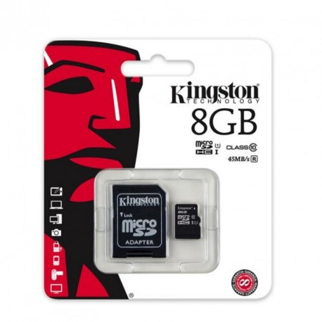 Kingston 8GB Micro SDHC Memory Card Class 10 UHS-1 SD Adapter 45MB/s
